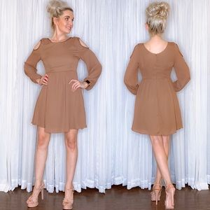Boho Neutral Long Sleeve Dress